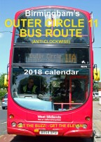 Birmingham's Outer Circle 11 Bus Route (anti-clockwise) 2018 calendar