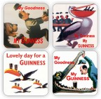 GUINNESS VINTAGE ADS – wooden coaster set of four