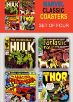 Marvel set of four iconic comic-book wooden coaster set