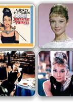 Audrey Hepburn four piece coaster set.